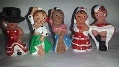 ****SOLD*****$10--Vintage Terra Cotta Spanish  Figurines* Clay Spanish Figurines. Set Of 5 Senoritas Lady Dancers Cantinas Festivals Flamenco Dancers Can by JunkYardBlonde on Etsy