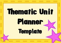 Editable Thematic Unit Planning Template Units Pinterest - Thematic lesson plan template