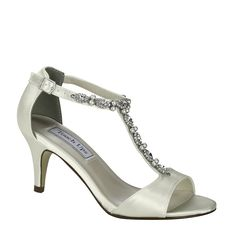 db03d84129f Touch Ups Donna white dyeable satin is a beautiful t-strap sandal. We can  custom dye this amazing shoe to match any color you need.