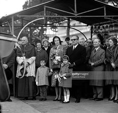 The Young Princess Caroline of Monaco and family at the christening of Monaco Yacht Club training ship called 'Princesse Caroline' on January 28, 1963 in Monaco.