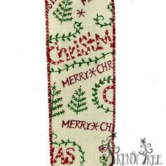 """Canvas with Merry Christmas Print Size: 2.5"""" in width; 10 yards length Color: Ivory, Red, Green Ivory background with Merry Christmas printed along with Christmas tree Arriving Summer"""