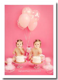 twin girls 1st birthday cake smash   {sneak peek} birmingham alabama newborn, baby, child, family photographer » stephanie fisher photography