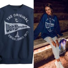 Jess Conte Outfit Found! Where did she get this cute blue oversized Disney sweatshirt?   Click below :)  #JessConte #Outfit #Clothing