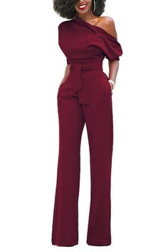 Top Quality JIMMYHANK Women Fashion Casual Vintage Shoulder Off Bandage Elegant Long Jumpsuit Rompers Party Overalls - Christmas Deesserts Rompers Women, Jumpsuits For Women, Romper Long Pants, One Shoulder Jumpsuit, Long Jumpsuits, Girl Fashion, Womens Fashion, Overall, Lingerie