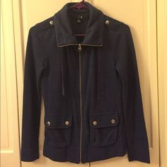 Forever 21 Blue Military-Style Jacket | Size S/P Very soft material, light-weight and in great condition! Only worn a few times. No PayPal please! :) Forever 21 Jackets & Coats Utility Jackets