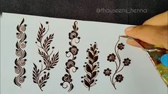 Rose Mehndi Designs, Basic Mehndi Designs, Beginner Henna Designs, Mehndi Designs For Girls, Mehndi Designs For Fingers, Latest Mehndi Designs, Mehndi Drawing, Flower Vines, Flowers
