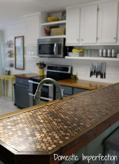 """Budget Kitchen Remodel instead of a """"penny floor"""", a penny counter ..."""