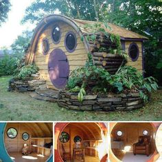 Hobbit Hole playhouses, chicken coops, doghouses, more! - Wooden Wonders' Hobbit Holes Bring the Magic of Middle-earth to Your Yard Hobbit Hole, The Hobbit, Hobbit Playhouse, Kid Playhouse, Backyard Playhouse, Earthship, Little Houses, Fancy Dog Houses, Small Houses