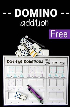 This Domino Addition Game is a great way to build up addition fluency and is a fun math game for kids! Just grab some dominoes, print, and play! - Education and lifestyle Math Activities For Kids, Kindergarten Games, Fun Math Games, Math For Kids, Math Resources, Kindergarten Addition, Homework Games, Math Addition Games, Numeracy Activities