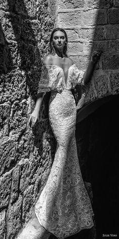 julie vino 2018 bridal off shoulder half flutter sleeves deep plunging sweertheart neckline full embellishment elegant sexy fit and flare mermaid wedding dress open v back short train (52) mv fv