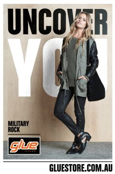 #Uncover your #creativity in #fashion!  #advertising #GlueStore Fashion Advertising, Creativity, Military, Denim, Jackets, Down Jackets, Jacket, Military Man, Jeans
