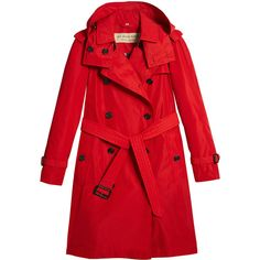 Burberry detachable hood tafetta trench coat (€745) ❤ liked on Polyvore featuring outerwear, coats, red, red trench coat, red trenchcoat, long sleeve coat, double breasted coat and red double breasted coat
