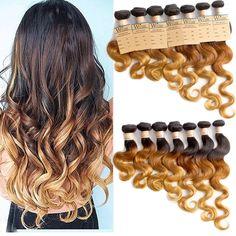 DE Hot 14 -24  Ombre Brazilian Human Hair Extension Body Wave 1b33#27# Local New