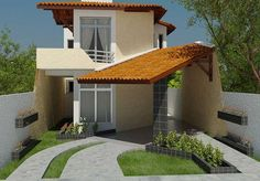 Planta de sobrado com Varanda Gourmet - Cód. Bungalows, Future House, Small Country Homes, Small House Exteriors, Facade House, Small House Plans, House Layouts, House Elevation, Little Houses