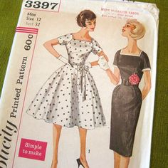 1960  Vintage Sewing Pattern Full Skirt Dress with by SelvedgeShop