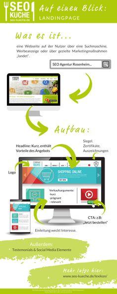 """Eine Landingpage (auch Landing Page) ist eine Seite, auf die ein Nutzer über eine Suchmaschine, Werbeanzeige oder über andere Marketingmaßnahmen """"landet"""". Die Landingpage hat das Ziel, den Nutzer zu einer bewussten Reaktion zu bewegen und ist deshalb auf seine Bedürfnisse ausgerichtet.  #seokueche #onlinemarketing Affiliate Marketing, E-mail Marketing, Content Marketing, Online Marketing, Social Media Marketing, Seo Blog, Instagram Advertising, Web Design"""