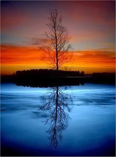 Silhueta e reflexo na agua.