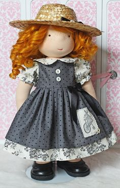 "Vintage Bunny and Buttons Dress & Hat for 17"" - 19"" dolls"