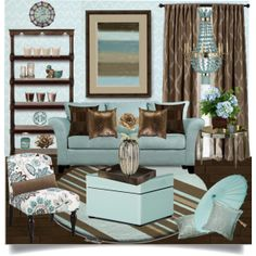 """My World Is Blue"" by truthjc on Polyvore Blue and Brown Living Room"