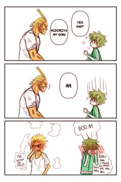 Well, All Might does act like a father figure to Izuku, possibly more than just a hero he looks up to. So just like a father. Boku No Hero Academia, My Hero Academia Memes, Hero Academia Characters, My Hero Academia Manga, Spideypool, Boko No, A Silent Voice, Father Figure, Fanarts Anime