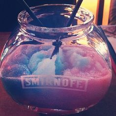 Cotton candy vodka slushie in fish bowl! I wish this had the recipe and not simply a picture! Cocktails, Party Drinks, Cocktail Drinks, Fun Drinks, Alcoholic Drinks, Beverages, Cold Drinks, Cocktail Recipes, Drink Recipes
