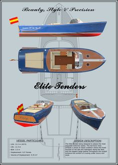 This image shows the final poster produced to present the designed yacht. It can be observed that the yacht has a very classic design (like a J Craft or a Riva tender) where is possible to see that the design in general terms is based on simple harmonic curves and shapes embodying the sense of classic tradition combined with the finest touches of red oak and mahogany and an elegant beige leather along the cockpit in order to capture the most exquisite costumers.