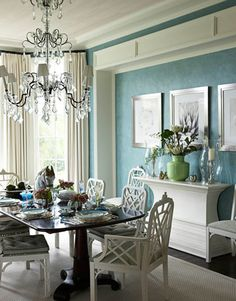 like the white with teal and the chandelier