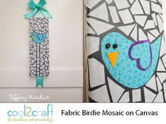 In this video, Tiffany Windsor creates a birdie themed fabric mosaic on canvas. This technique can also be used on pillows and wearable fashions. Fabric Birds, Fabric Art, Fabric Crafts, Paper Crafts, Canvas Crafts, Canvas Art, Dyi Crafts, Diy Arts And Crafts, Crafts For Kids