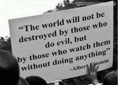 The world will not be destroyed by those who do evil, but by those who watch them without doing anything. Albert Einstein