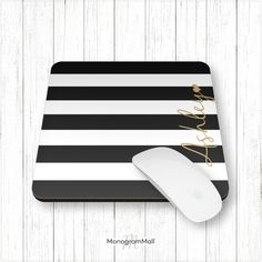 Personalized mouse pad, computer supplies, computer mouse, office, school, monogram, personalize, striped, stripes, gold, black, white