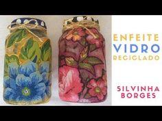 Como Fazer um Enfeite de Vidro Reciclado com Chitão - YouTube