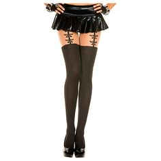 Women's Faux Thigh High Pantyhose ($15) ❤ liked on Polyvore featuring intimates, hosiery, tights, black, socks & hosiery, thigh high stockings, opaque pantyhose, sheer tights, opaque thigh high stockings and panty hose stockings