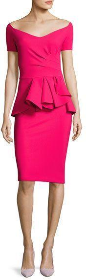 Chiara Boni La Petite Robe Blake Off-the-Shoulder Sweetheart Peplum Dress, Pink