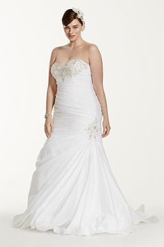 Taffeta Trumpet Plus Size Wedding Dress with Beads 9V3476