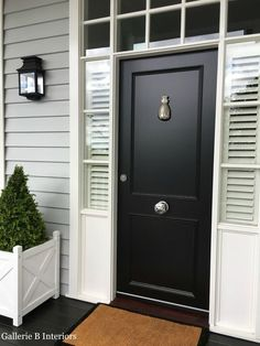 My 'Hamptons' style front door, complete with pineapple door knocker! My 'Hamptons' style front door, complete with pineapple door knocker! House Design, House Front Door, House, House Entrance, House Front, House Exterior, Black Front Doors, Hamptons House, House Paint Exterior