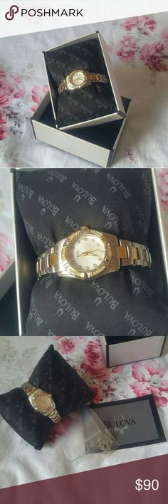 Bulova womens watch gold/silver Is a $425 watch and is almost like new. Has been laying around and is still in great condition and great quality. It is still in the box with the spare part and instructional book. Non-negotiable. Already selling for a great deal. Bulova Accessories Watches
