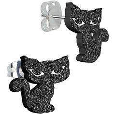 Black Onyx Glitter Kitty Stud Earrings   Body Candy Body Jewelry