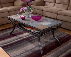Ashley Furniture Riggerton Piece Wood Coffee Table Set Burnished - Tile top coffee table ashley furniture