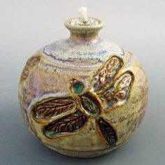 Oil Lamp - Carved Dragonflies /handmade wheel thrown pottery