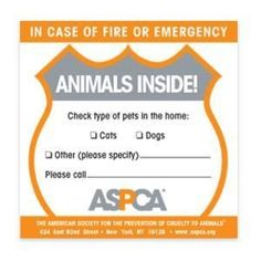 ASPCA Animal Alert Rescue Sticker - get one if you have any pets in your house