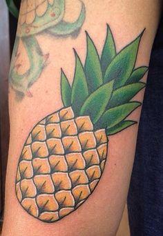 Michelle Rubano at FullCircleTattoo in San Diego Ca Pineapple Traditional Style Tattoo, Traditional Ink, Leaf Tattoos, Breakfast Ideas, San Diego, Pineapple, Traditional Tattoo, Morning Tea Ideas, Pine Apple