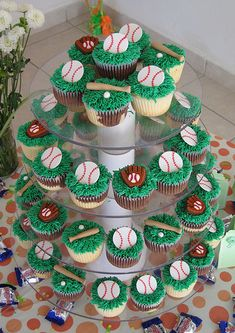 Awesome baseball cupcake tower by sugardiva