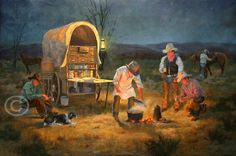 """Cookie's Diner"" Lorna Dillon, cowboys, horses, dog, camp cook gathered around camp fire with chuckwagon and cattle at night"