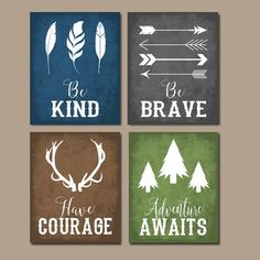 wall decor boys room woodland quote wall art woodland nursery decor canvas or print rustic nursery decor be brave be kind have courage tribal quotes set of 4 wall decor stickers dollar tree Baby Boy Rooms, Baby Boy Nurseries, Neutral Nurseries, Baby Girls, Metal Tree Wall Art, Canvas Wall Art, Diy Canvas, Wall Art Quotes, Quote Wall