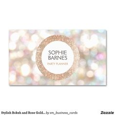 Stylish Bokeh and Rose Gold Sequin Event Planner 2 Double-Sided Standard Business Cards (Pack Of 100)