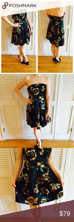 Guess Gold Floral Dress Worn, but in great shape! Stretchy material with side zip. 78% polyester / 19% rayon / 3% spandex. GUESS Dresses Strapless