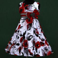 w025 f12 White Red Trendy X'mas Birthday Summer Party Flower Girls Dress 3-13y