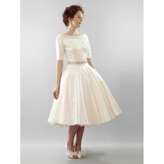 Classic Taffeta Tea Length Wedding Dress