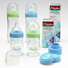 Playtex Drop Ins.only bottles we use. Great for babies with gas problems. New Baby Boys, Baby Kids, Boy Toddler, Baby Boy Accessories, Baby Bottles, Baby Gear, Future Baby, Home Depot, Little Ones