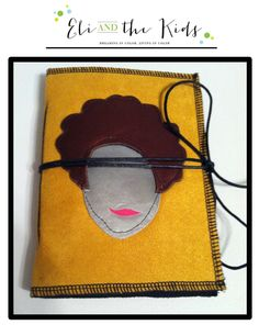 Soft covered Journal/Notebook, bright yellow faux suede outer cover with leather natural hair silhouette on front cover.  White heavy echo friendly paper on the inside held shut with black leather string.   Note that because these are all custom made by me and are all one-of-a-kind, the color o...